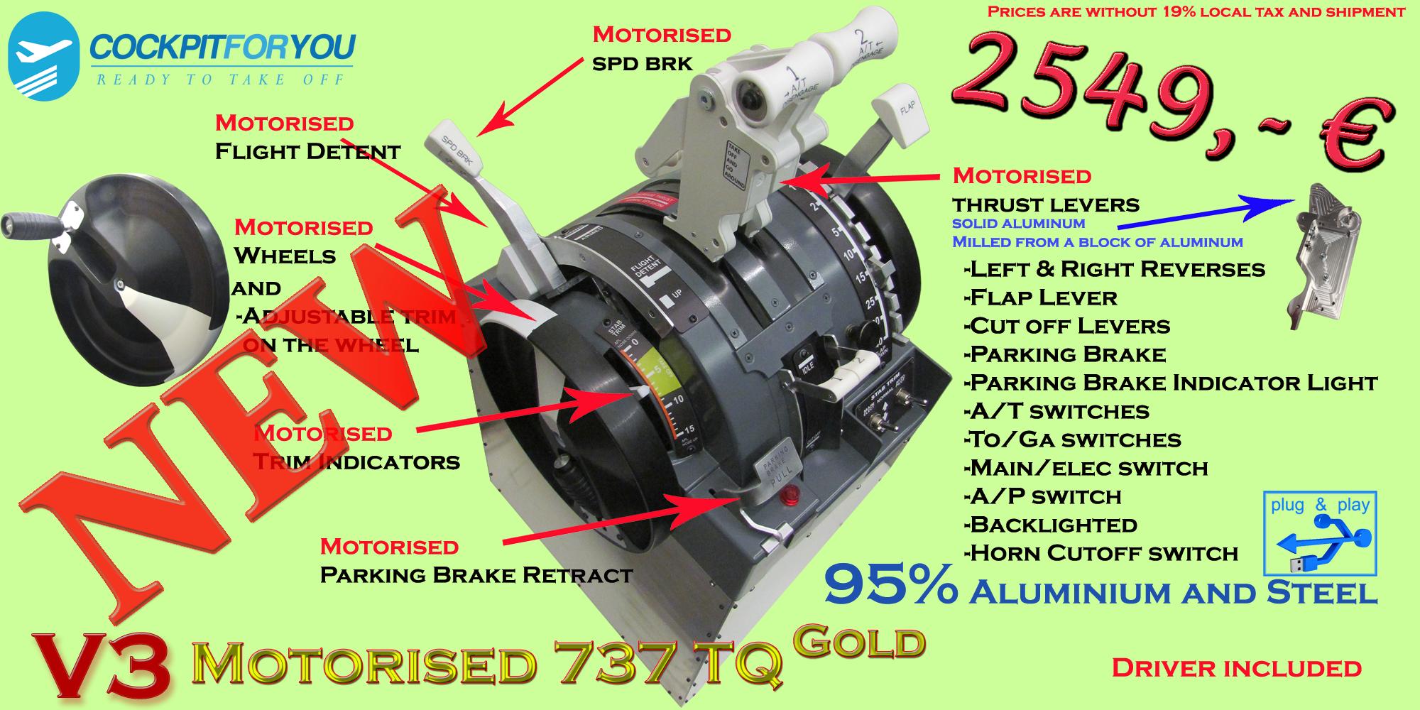 B737 Throttle Quadrant Motorised Gold V3