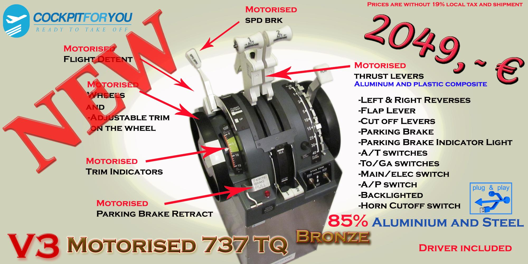 B737 Throttle Quadrant Motorised bronze V3